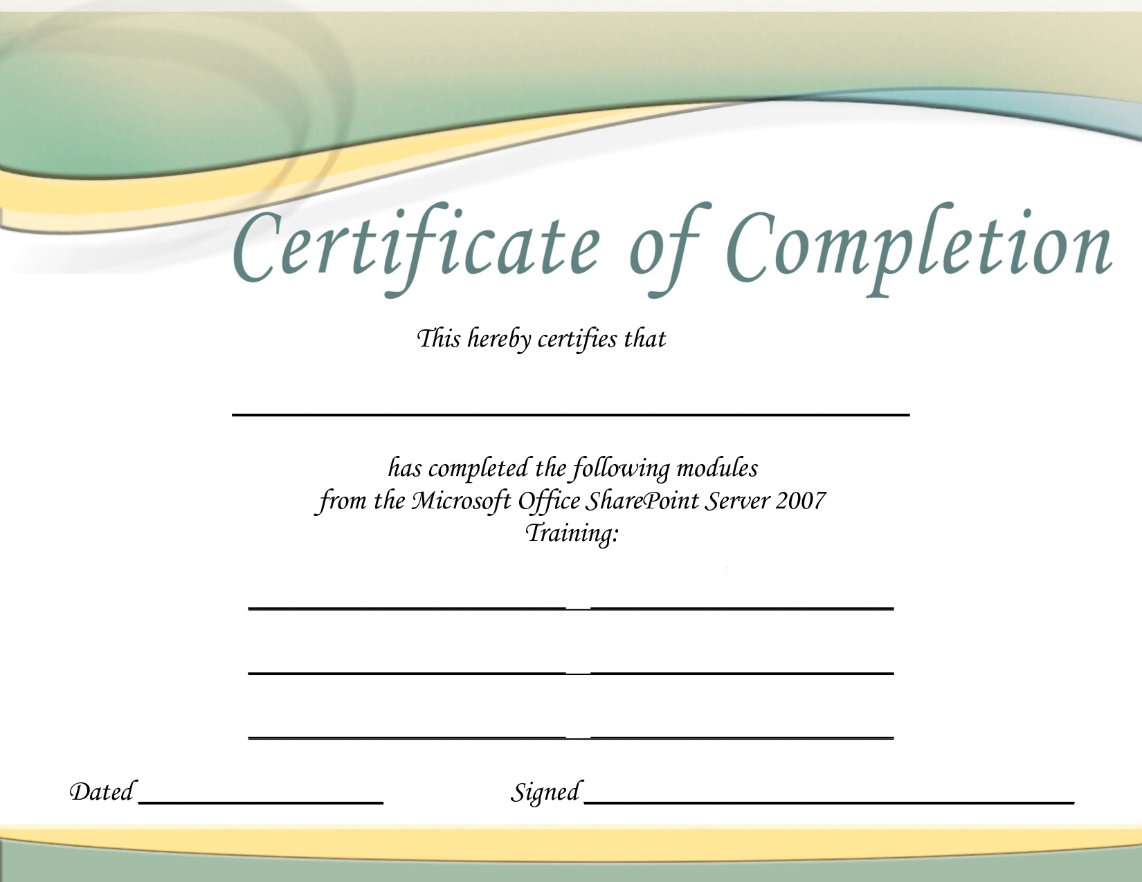 Training Certificate Template Printable Microsoft Office Doc With Regard To Microsoft Office Certificate Templates Free