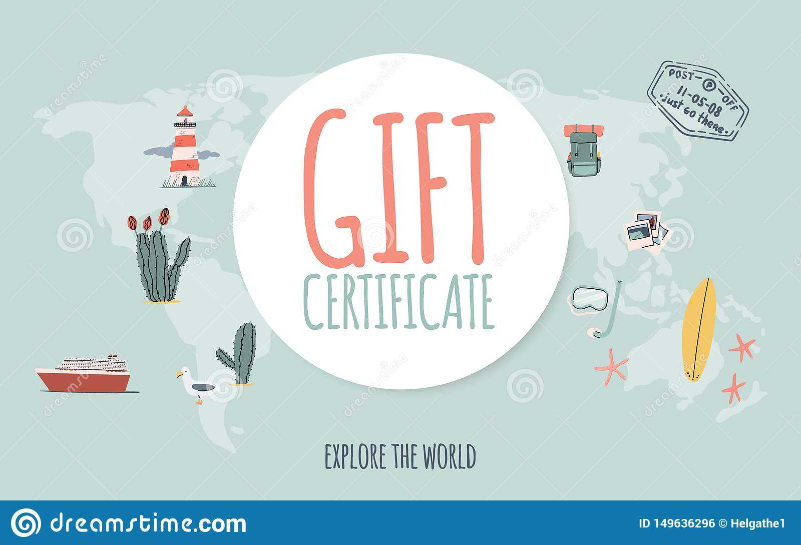 Travel Gift Certificate. Hand Drawn Doodle Style. Explore With Regard To Free Travel Gift Certificate Template