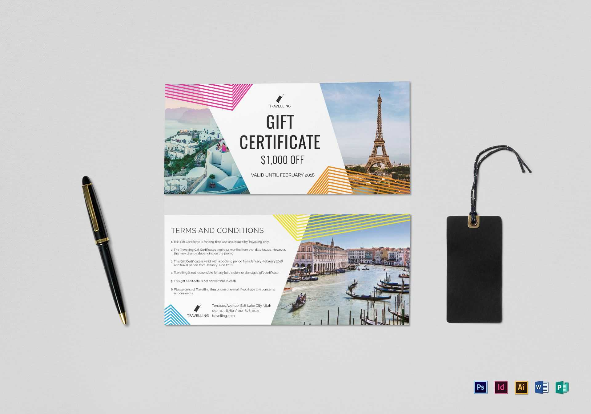 Travel Gift Certificate Template For Indesign Gift Certificate Template