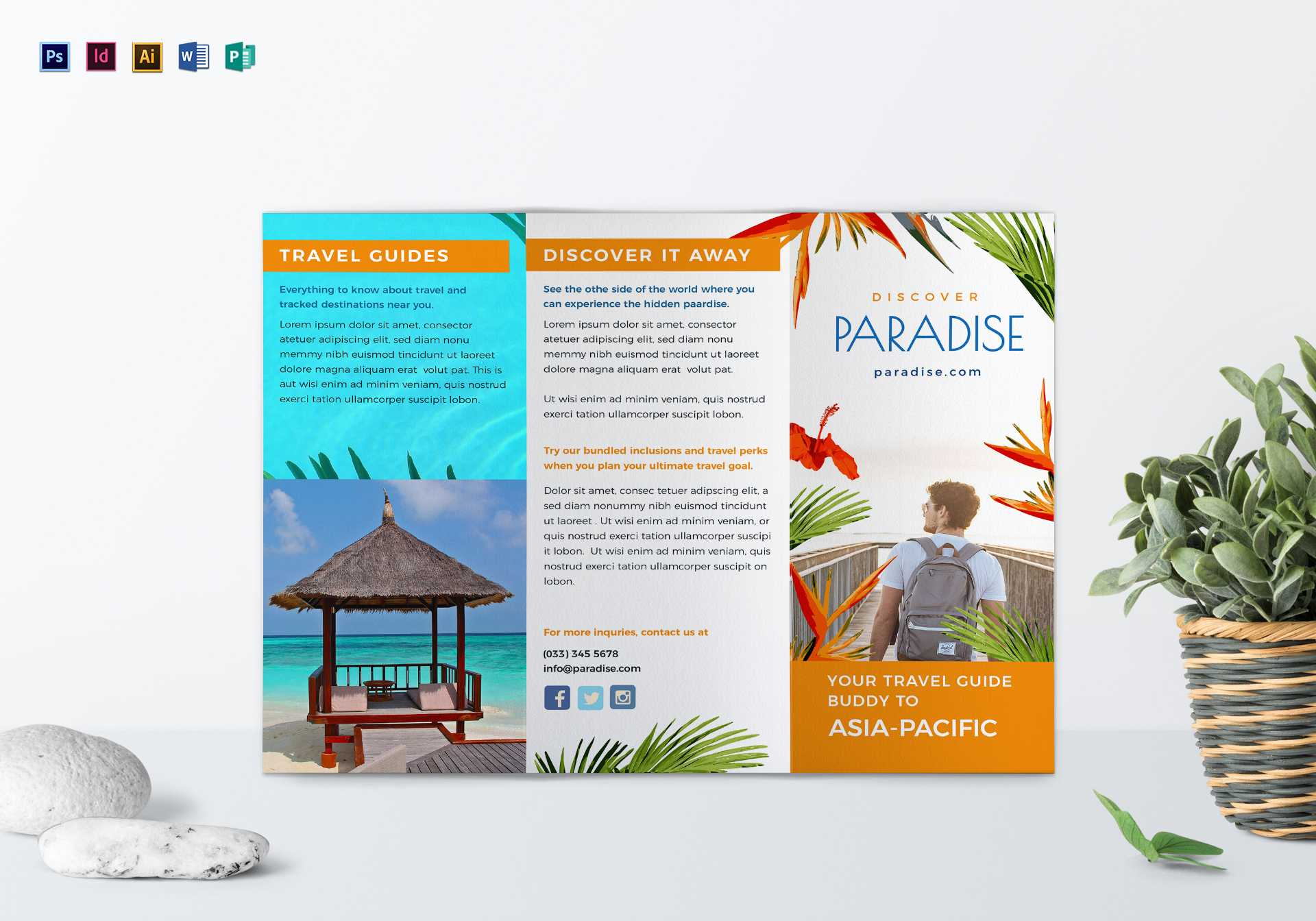 Travel Tri Fold Brochure Template regarding Word Travel Brochure Template
