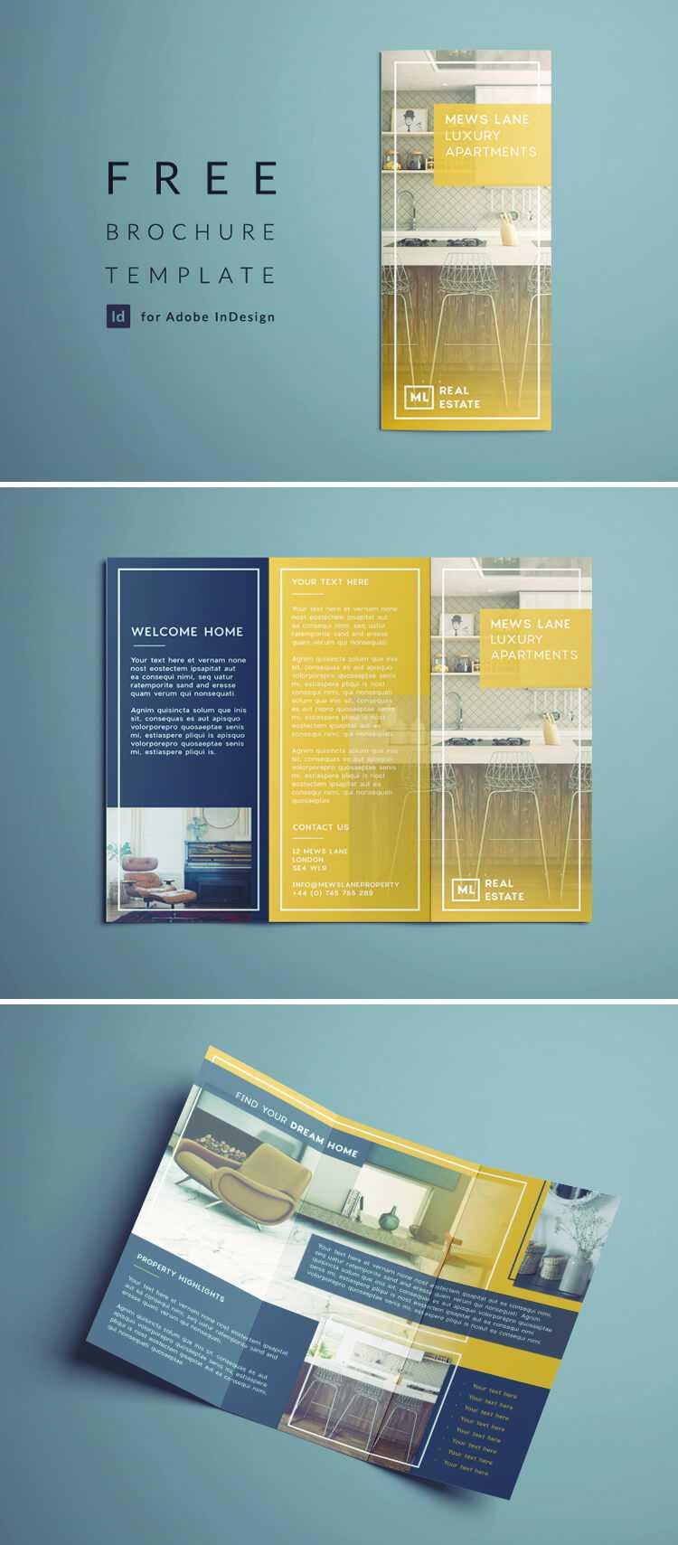 Tri Fold Brochure | Free Indesign Template Inside Z Fold Brochure Template Indesign