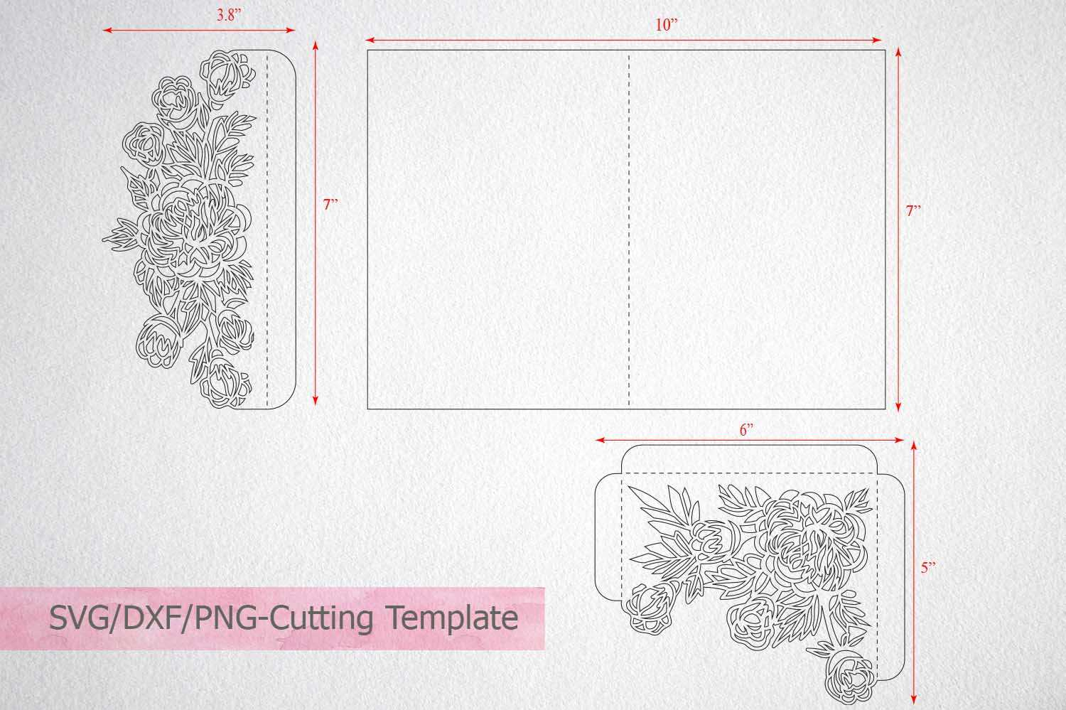 Tri Fold Wedding Invitation Card Template Laser Cut Sxg Dxf Intended For Three Fold Card Template