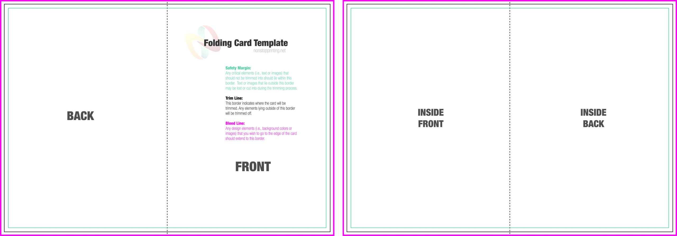 Two Fold Card Template - Karan.ald2014 Inside Blank Quarter Fold Card Template