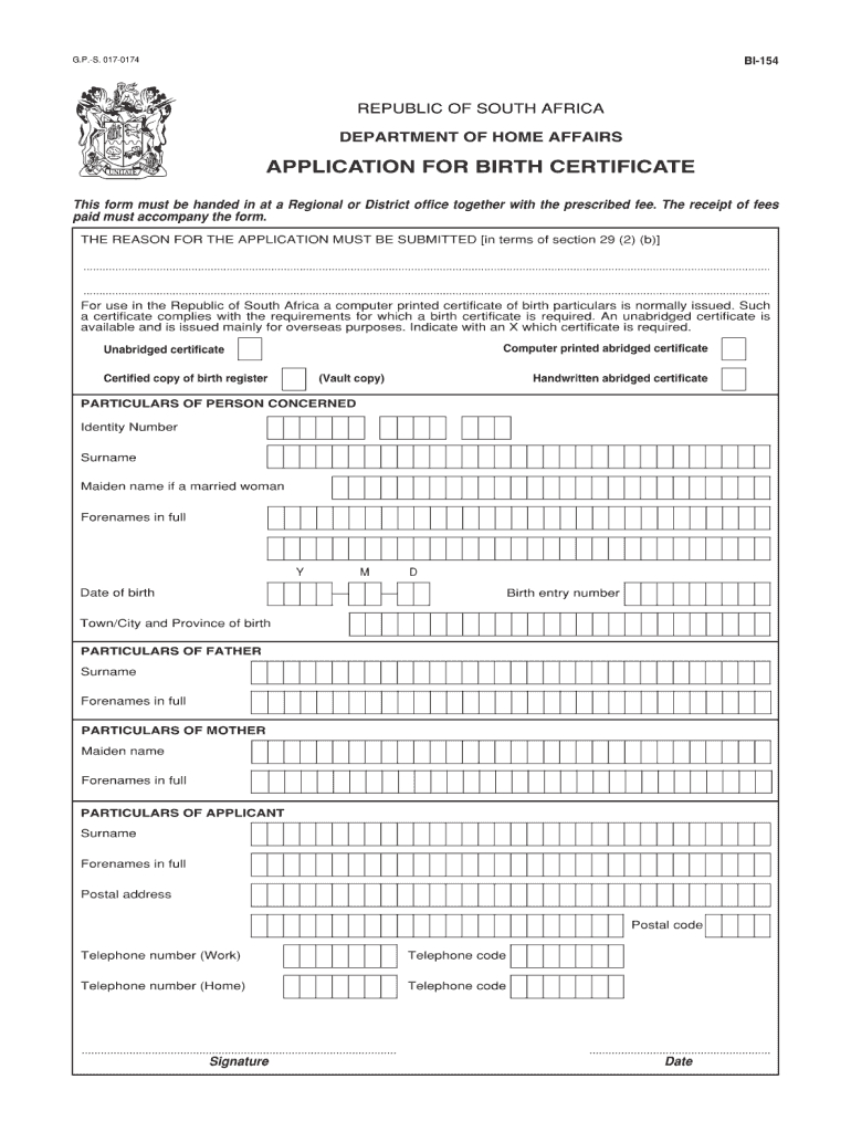 Unabridged Birth Certificate Form - Fill Online, Printable Intended For South African Birth Certificate Template