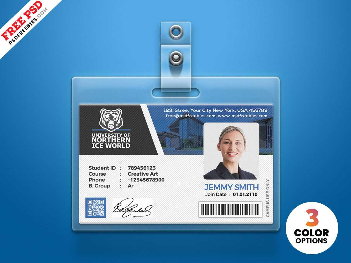 University Student Identity Card Psdpsd Freebies On Dribbble Regarding Id Card Design Template Psd Free Download