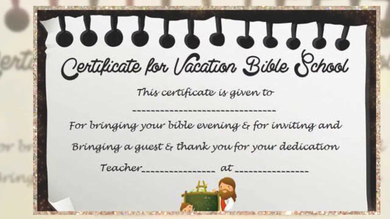 Vacation Bible School Certificate Templates - Karati.ald2014 Inside Vbs Certificate Template