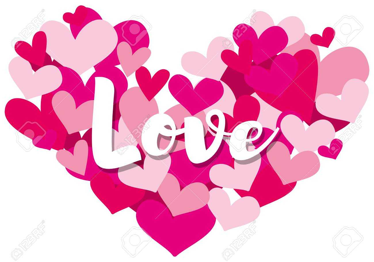 Valentine Card Template With Word Love On Heart Shapes Illustration Intended For Valentine Card Template Word