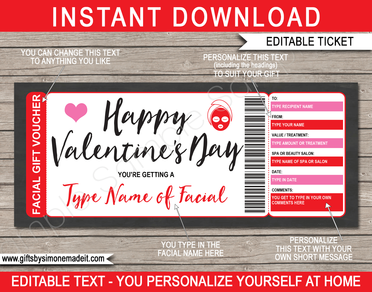 Valentine's Day Facial Gift Voucher For Spa Day Gift Certificate Template