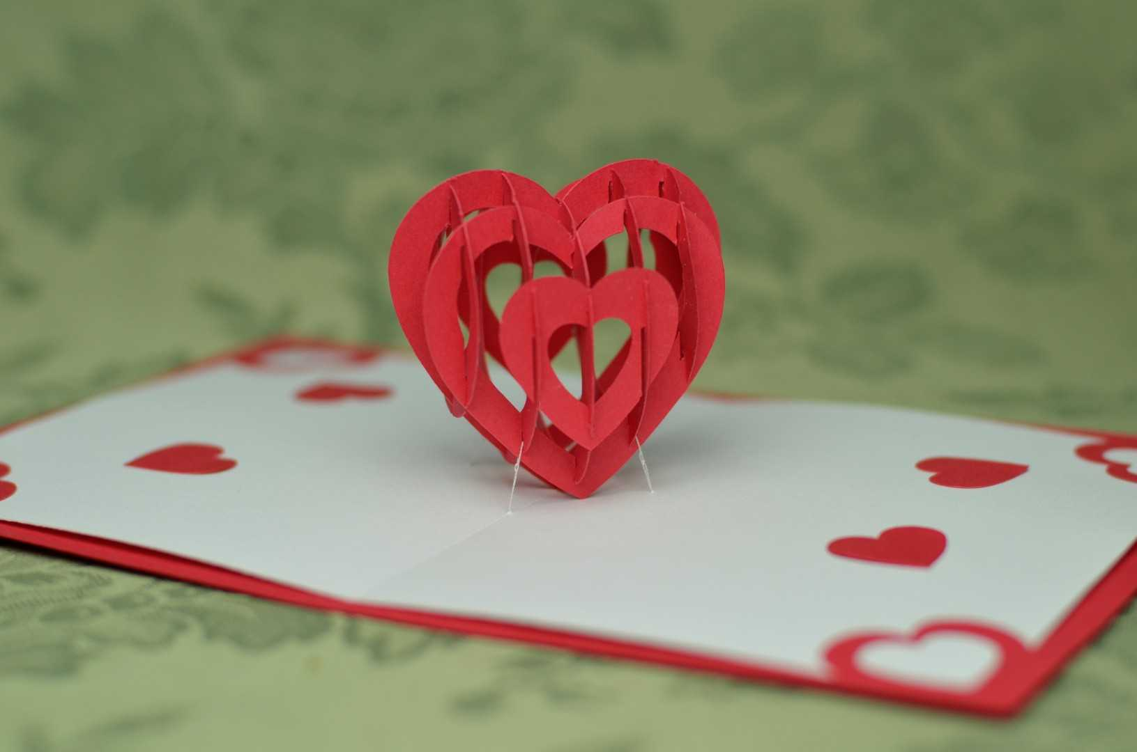 Valentine's Day Pop Up Card: 3D Heart Tutorial - Creative In 3D Heart Pop Up Card Template Pdf