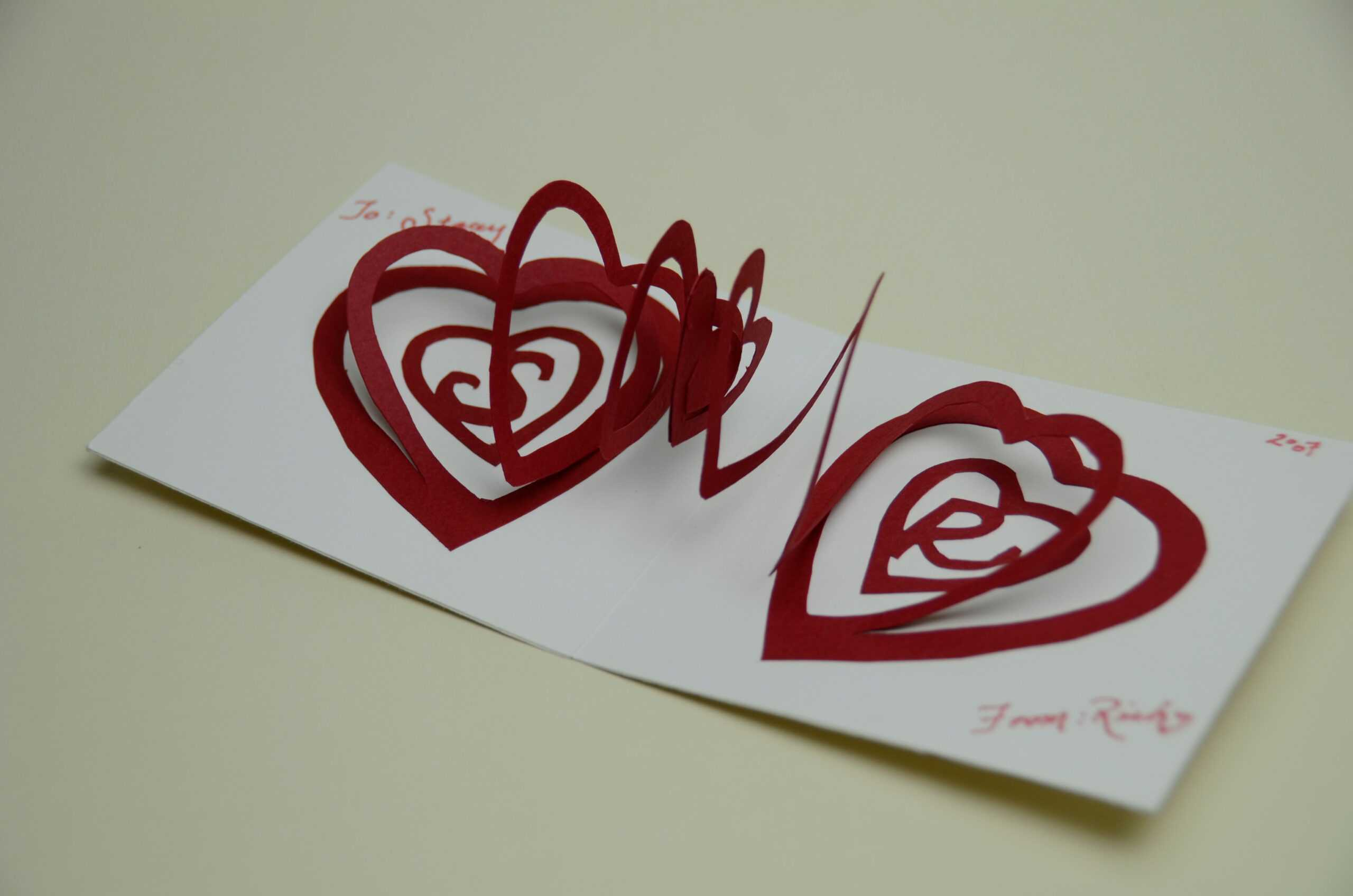 Valentine's Day Pop Up Card: Spiral Heart Tutorial Intended For Pop Out Heart Card Template
