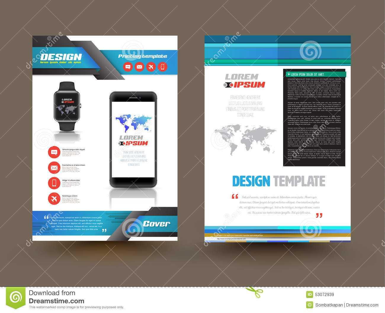 Vector Brochure Template Design For Technology Product Inside Product Brochure Template Free