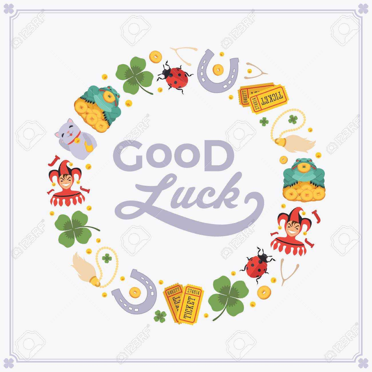 Vector Decorating Design Made Of Lucky Charms, And The Words.. With Good Luck Card Template