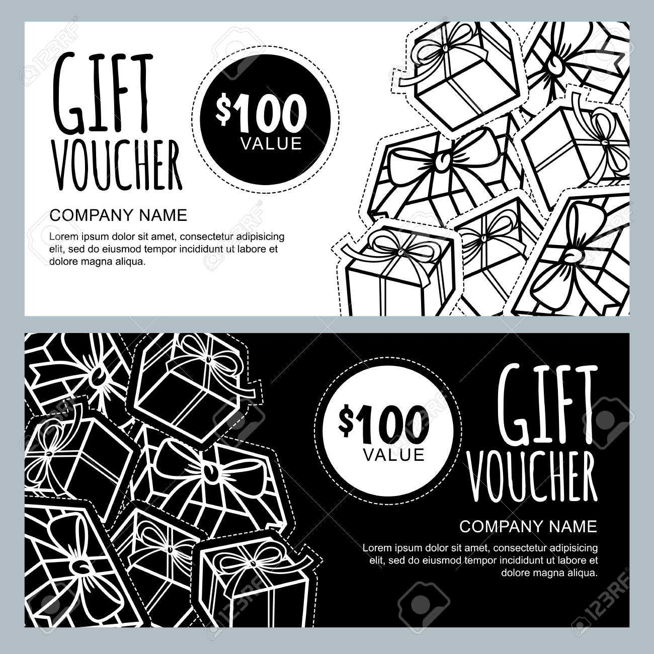 Vector Gift Voucher Template With Gift Box Patches And Stickers With Black And White Gift Certificate Template Free