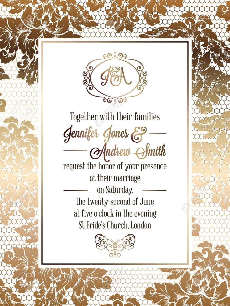 Vintage Baroque Style Wedding Invitation Card Template.. Elegant.. In Invitation Cards Templates For Marriage