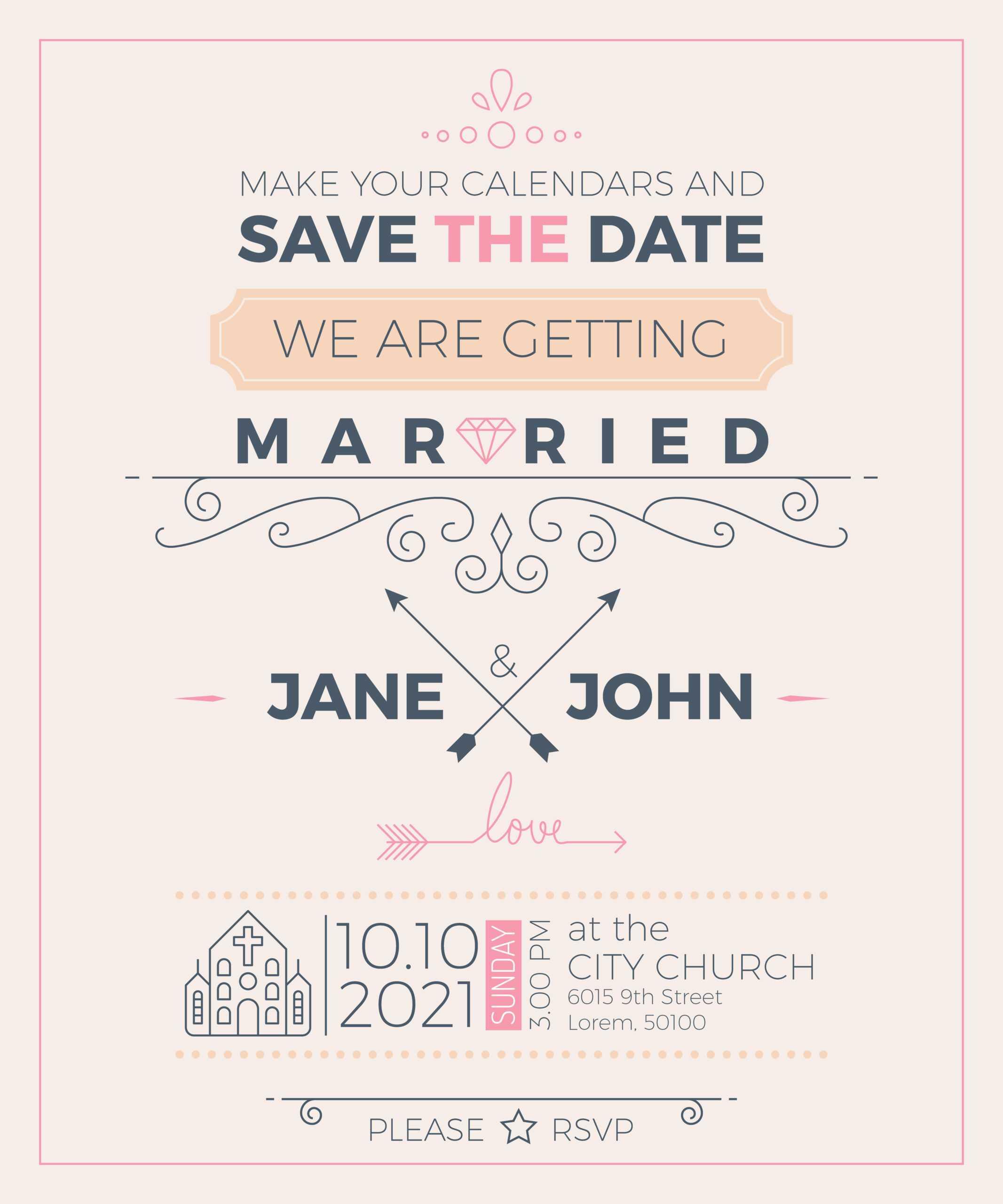 Vintage Wedding Invitation Card Template - Download Free In Church Wedding Invitation Card Template