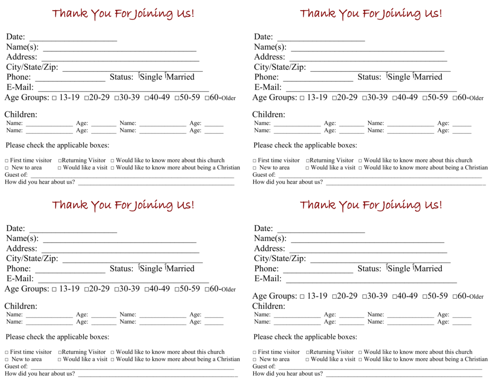Visitor Cards For Church Template - Karati.ald2014 Within Church Visitor Card Template