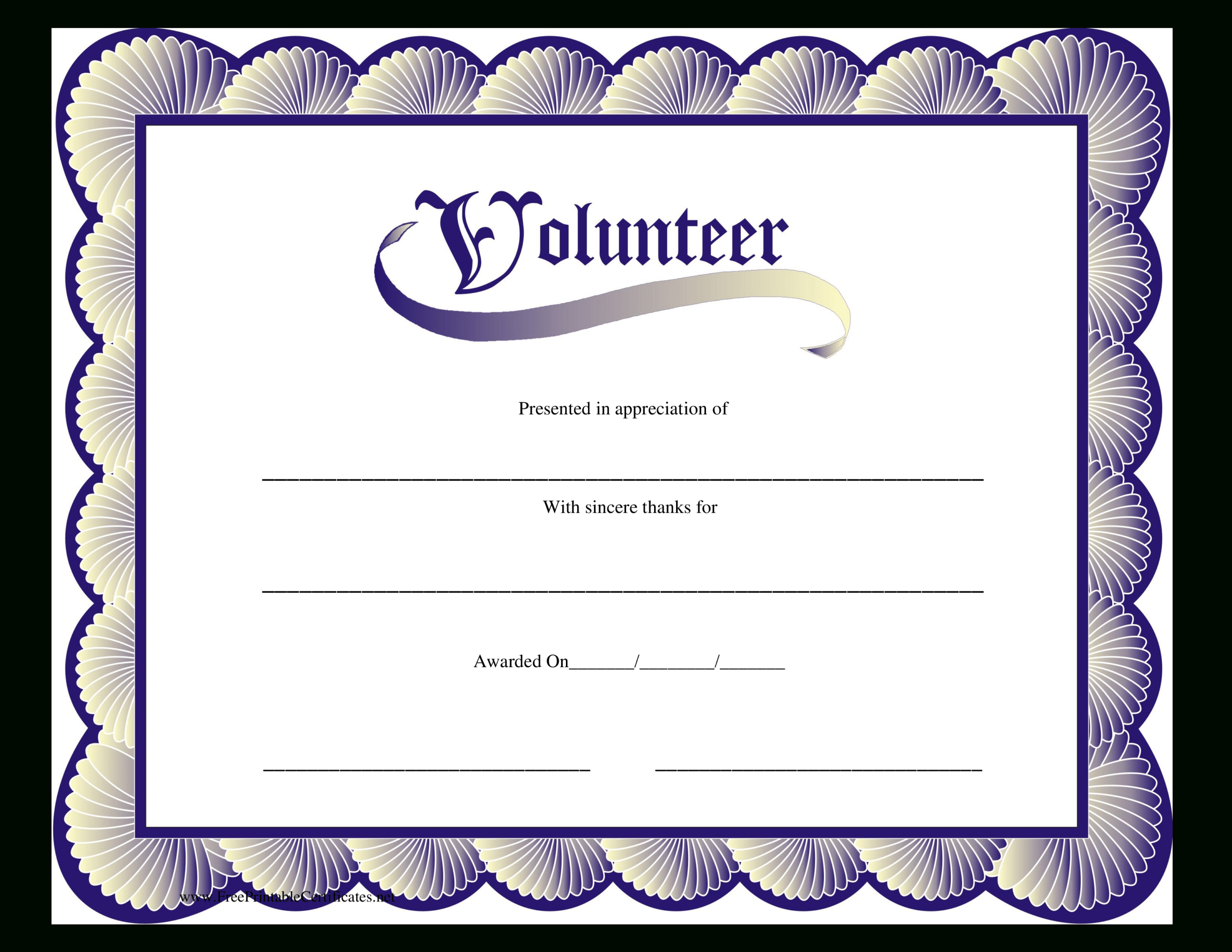 Volunteer Certificate | Templates At Allbusinesstemplates Inside Volunteer Certificate Template