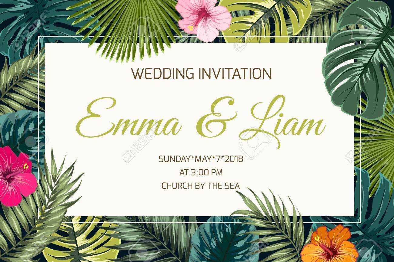 Wedding Event Invitation Card Template. Exotic Tropical Jungle.. Regarding Event Invitation Card Template