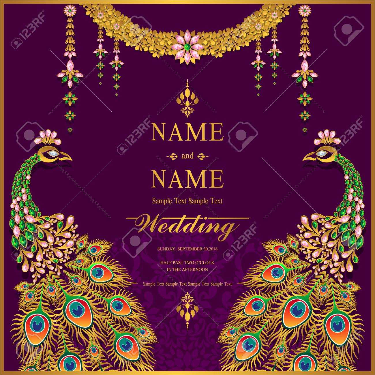 Wedding Invitation Card Templates With Gold Patterned And Crystals.. Regarding Indian Wedding Cards Design Templates