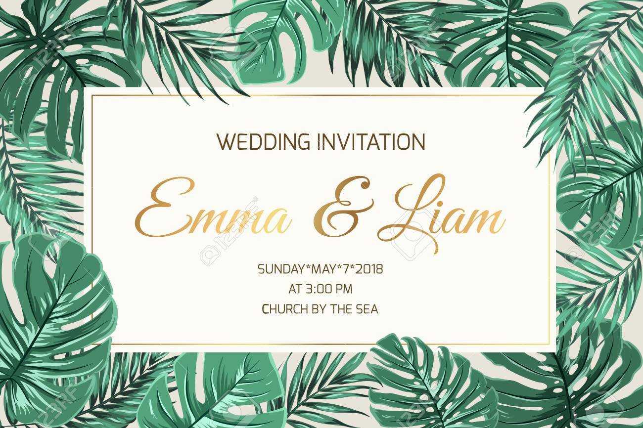 Wedding Marriage Event Invitation Card Template. Exotic Tropical.. Within Event Invitation Card Template