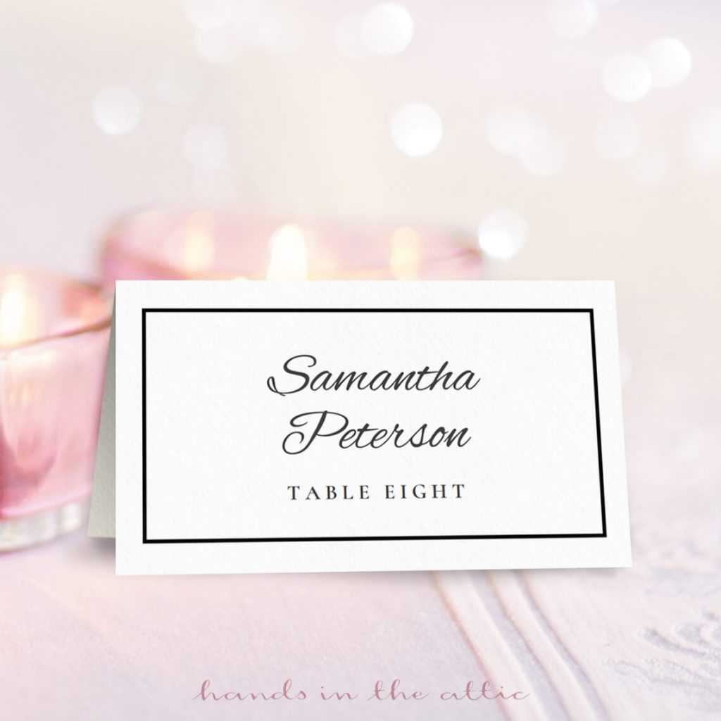Wedding Place Card Template | Free Download | Hands In The Attic For Place Card Size Template