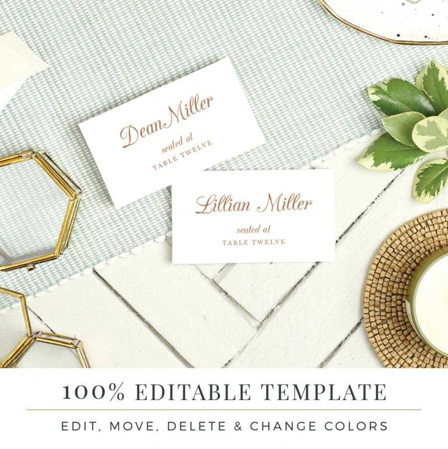 Wedding Place Card Template, Printable Escort Cards, Pretty In Printable Escort Cards Template