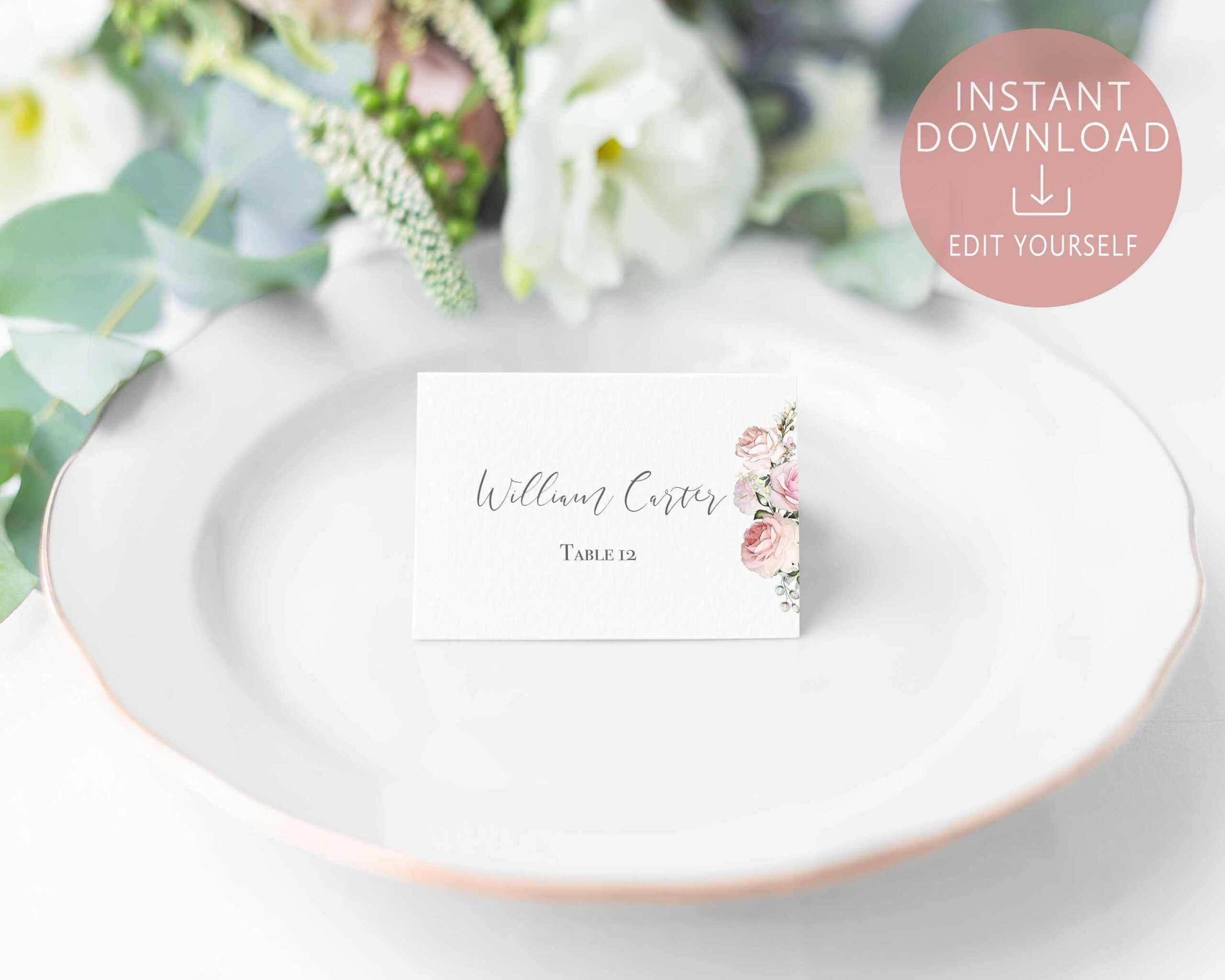 Wedding Place Cards Printable Editable Name Card Template For Table Name Card Template