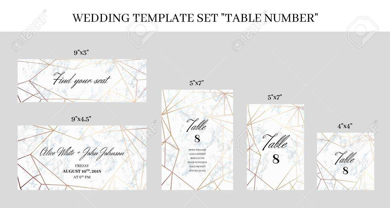 Wedding Template Set Table Number Cards. White Marble Background.. In Table Number Cards Template