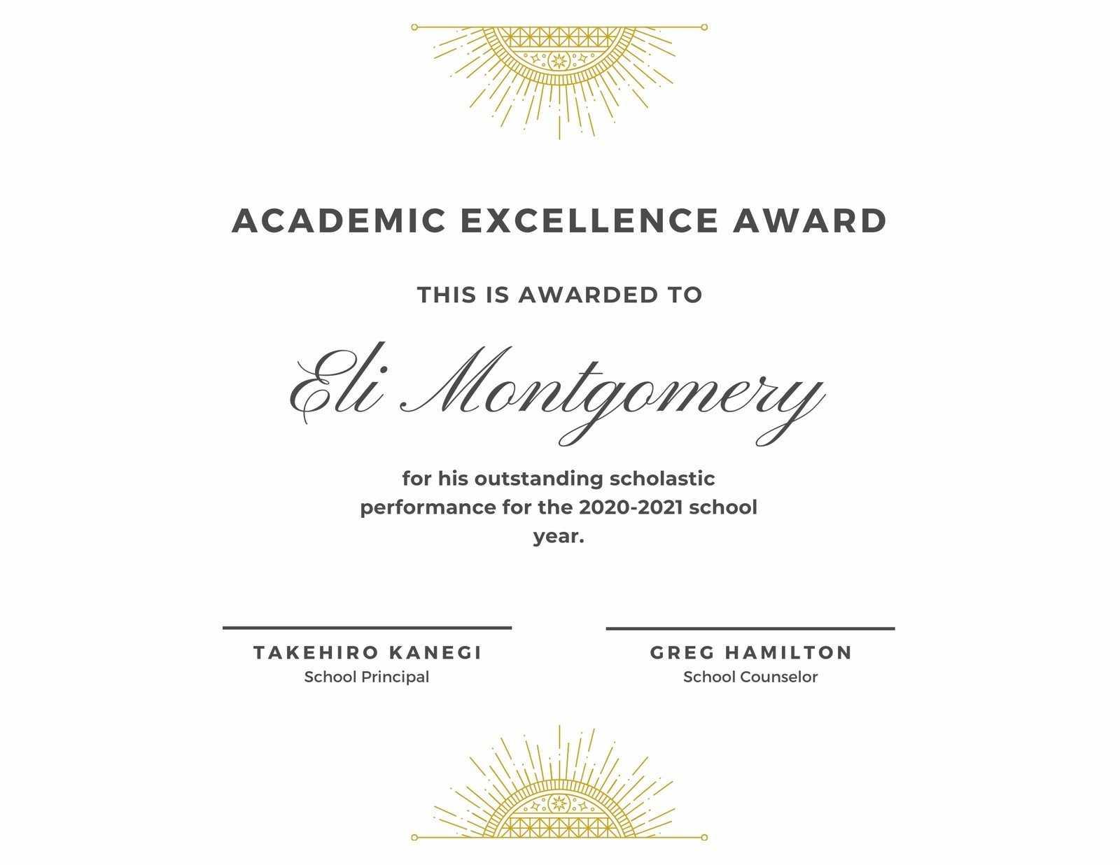 White & Gold Elegant Academic Award Certificate - Templates Pertaining To Academic Award Certificate Template