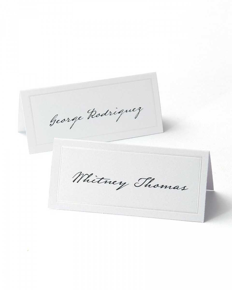 White Pearl Border Printable Place Cards Throughout Imprintable Place Cards Template