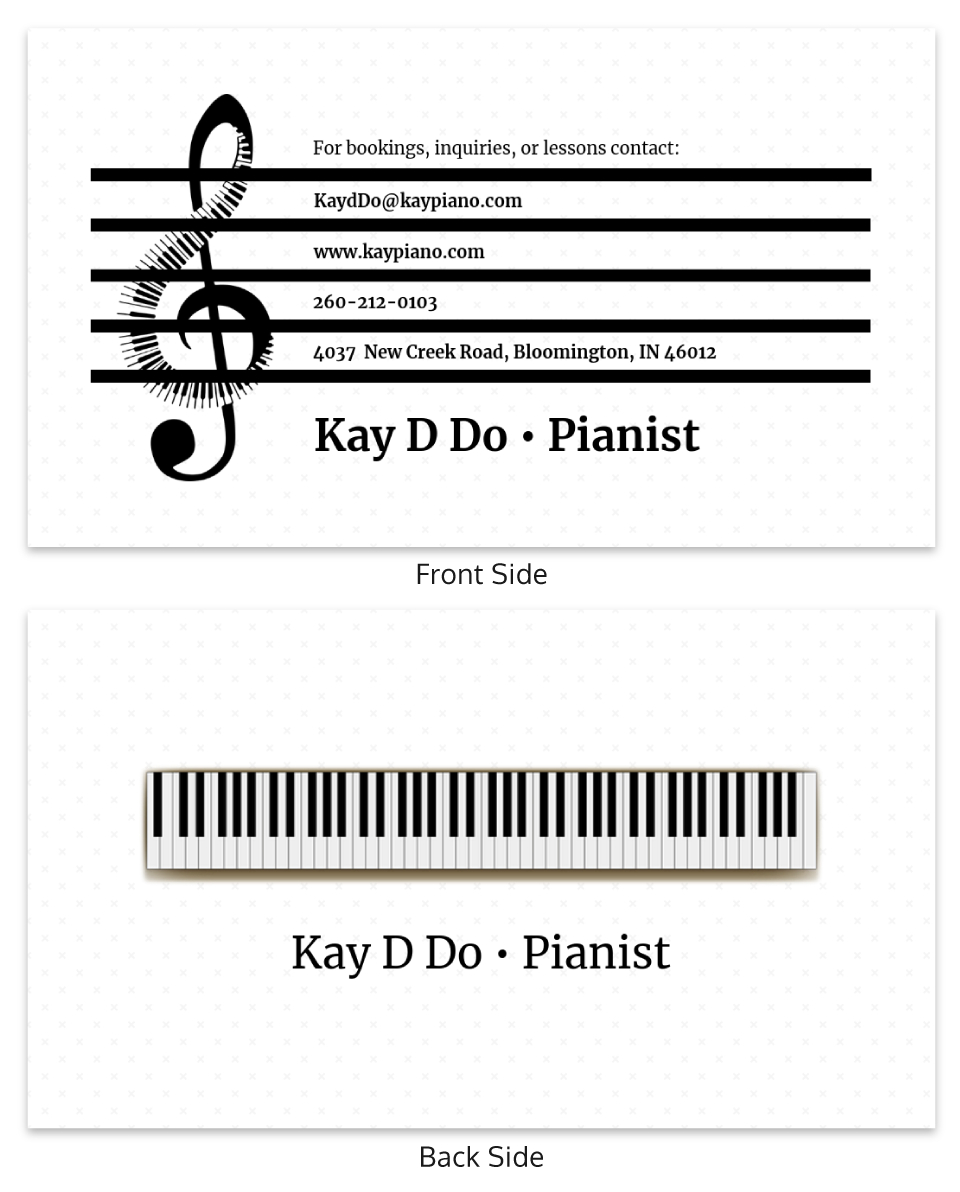 White Pianist Music Business Card Template For Dog Grooming Record Card Template