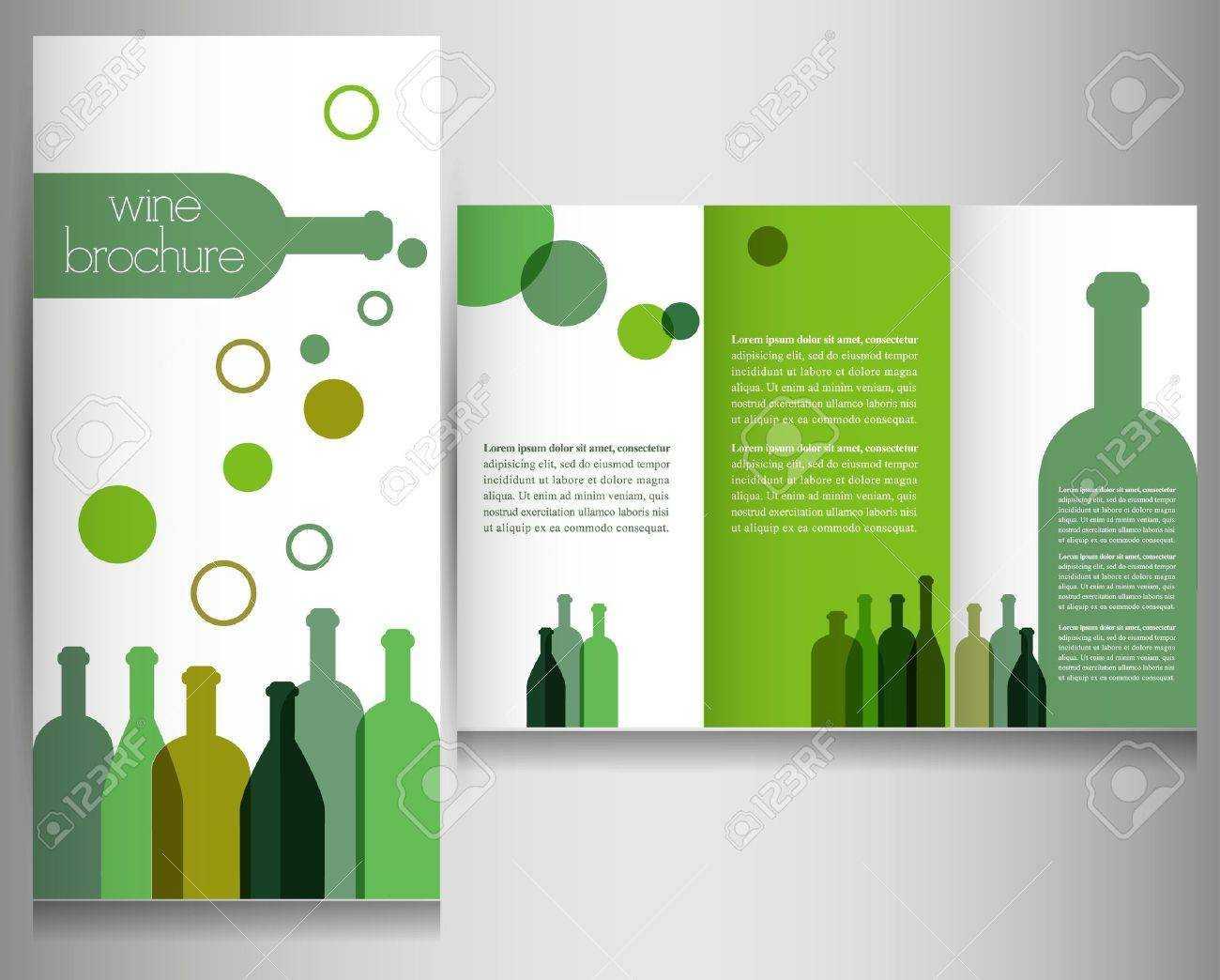 Wine Brochure Design Template Vector Inside Wine Brochure Template