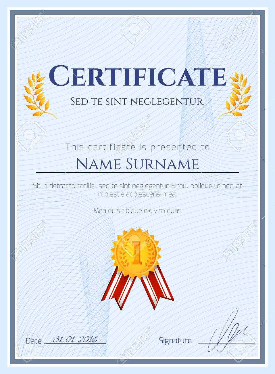 Winner Certificate Diploma Template With Seal Award Decoration.. Intended For Winner Certificate Template