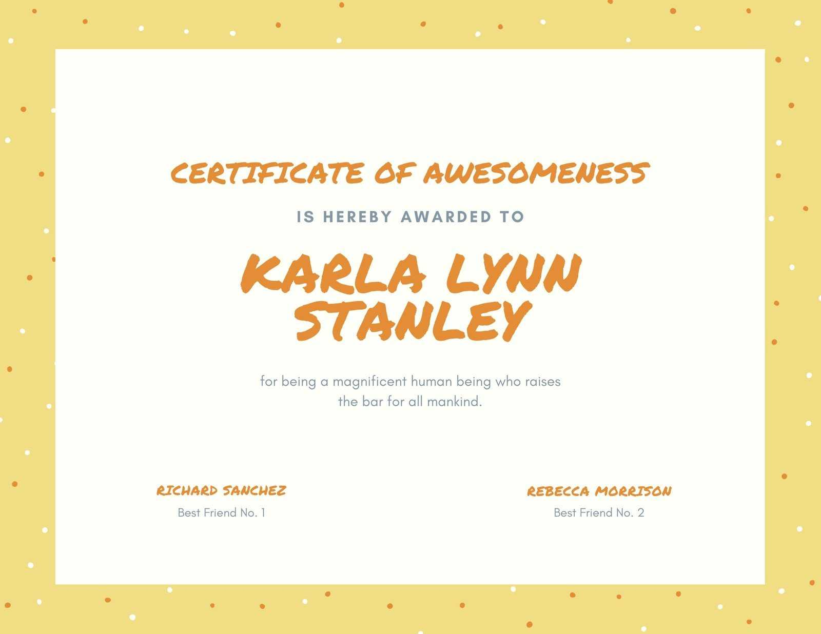 Yellow, Orange And Cream Dots Funny Certificate - Templates In Funny Certificate Templates